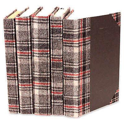 Leather Books Plaid Fabric Re-bound Decorative Books in Black (Set of 5)