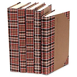Leather Books Plaid Fabric Re-bound Decorative Books in Brown (Set of 5)