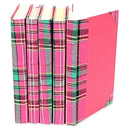 Leather Books Plaid Fabric Re-bound Decorative Books in Pink (Set of 5)