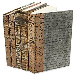 Leather Books Parchment Re-bound Decorative Books in Gold/Grey (Set of 5)