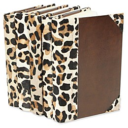 Leather Books Animal Hide Re-bound Decorative Books in Leopard Print (Set of 5)