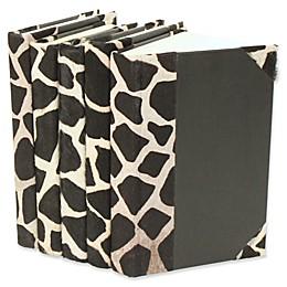 Leather Books Animal Hide Re-bound Decorative Books in Giraffe Print (Set of 5)