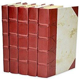 Leather Books Marbled Parchment Re-bound Decorative Books in Red (Set of 5)