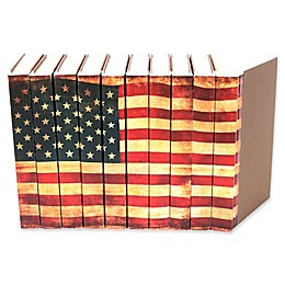 Leather Books American Flag Parchment Re-bound Decorative Books in Red (Set of 10)
