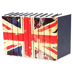 Leather Books Union Jack Parchment Re-bound Decorative Books in Blue (Set of 10)