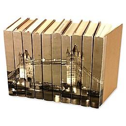 Leather Books London Bridge Parchment Re-bound Decorative Books in Brown (Set of 10)