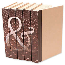 Leather Books Ampersand Parchment Re-bound Decorative Books in Brown (Set of 5)