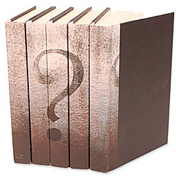 Leather Books Question Mark Parchment Re-bound Decorative Books in White (Set of 5)