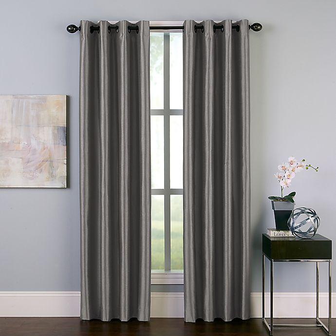 Alternate image 1 for Malta 144-Inch Grommet Room Darkening Window Curtain Panel in Pewter