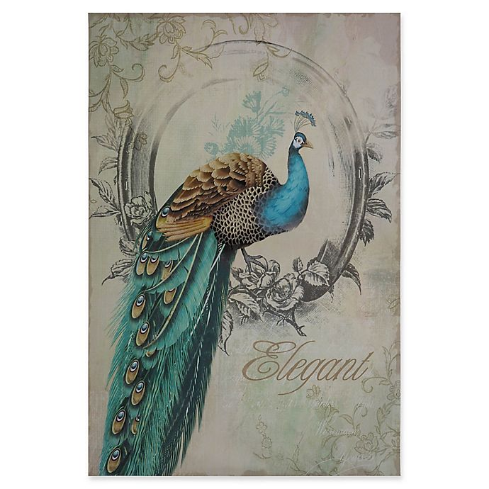 Alternate image 1 for Yosemite Home Décor Peacock Poise I Mixed Media 24-Inch x 35-Inch Canvas Wall Art