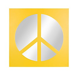 Kate and Laurel Peace Sign Icon 22-Inch Square Mirror in Yellow