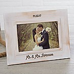 Wedding Memories Engraved Picture Frame in White Wash
