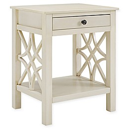 Linon Home Whitley End Table in Antique White
