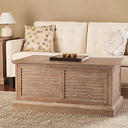Southern Enterprises Abram Louvered Trunk Coffee Table and End Table Collection in Oak