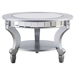 Southern Enterprises Lindsay Glam Mirrored Round Cocktail Table