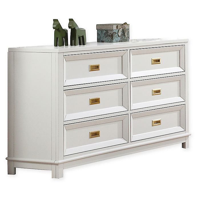 Campaign Wooden 6 Drawer Dresser In White