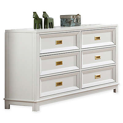 Campaign Wooden 6-Drawer Dresser in White