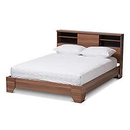 Baxton Studio Vanda Queen Wood Platform Bed in Walnut/Black
