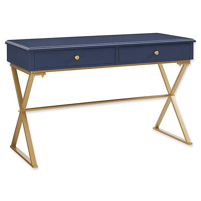 Alternate image 1 for Linon Home Campaign Desk in Blue/Gold