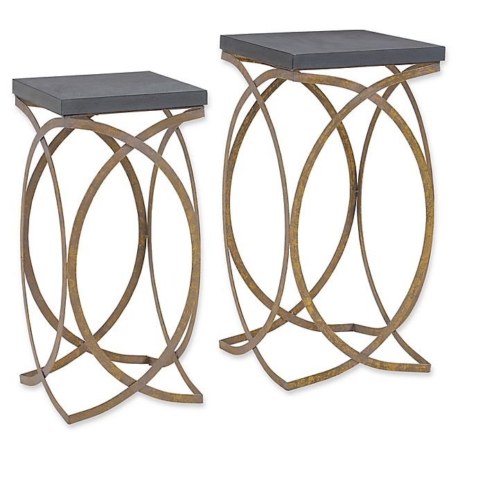 Alternate image 1 for Linon Home Concrete-Style 2-Piece Nesting Accent Table Set in Gold