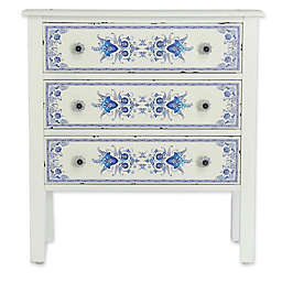 River of Goods French Countryside 3-Drawer Cabinet in Blue/White