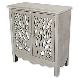 River of Goods Willow Tree 2-Door Cabinet in Silver