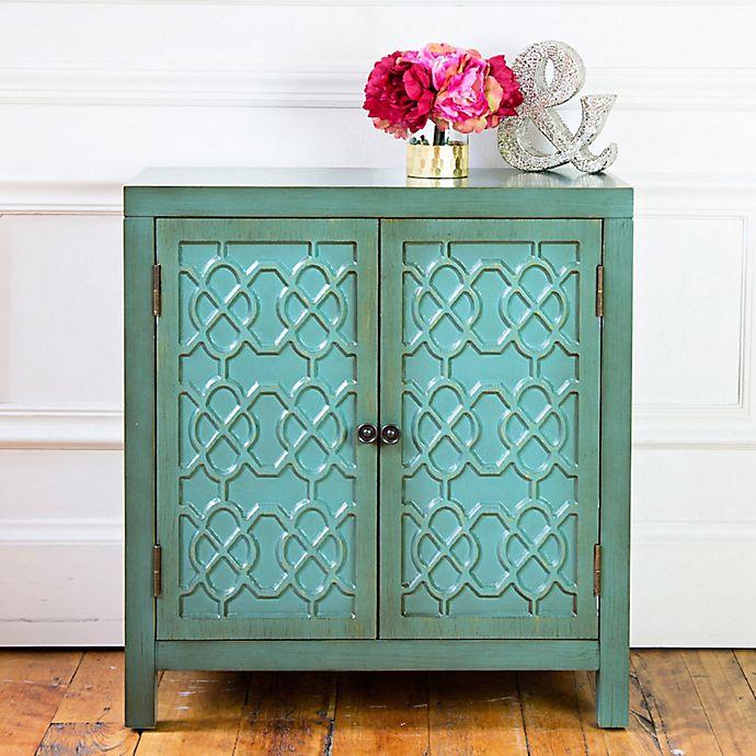 Alternate image 1 for River of Goods Antiqued 2-Door Cabinet in Teal