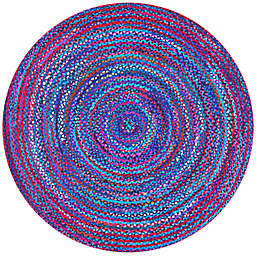 nuLOOM Tammara Nomad Braided Oval Area Rug in Blue