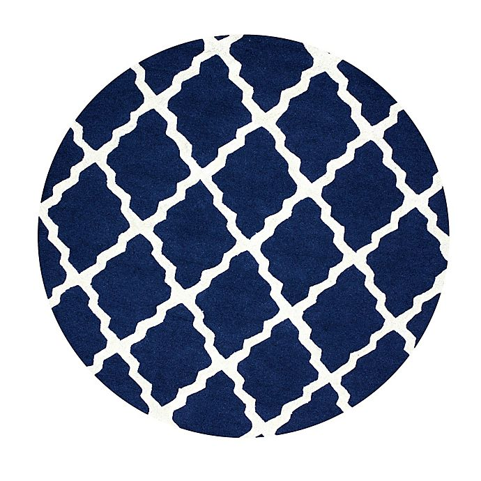 Alternate image 1 for nuLOOM Marrakech Trellis 8-Foot Round Area Rug in Navy Blue