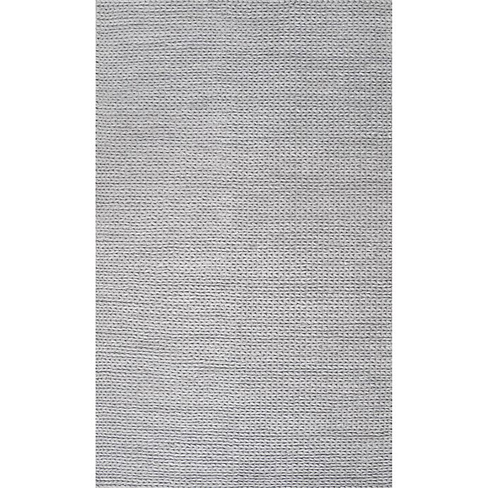 Alternate image 1 for nuLOOM Chunky Woolen Cable 3-Foot x 5-Foot Area Rug in Light Grey