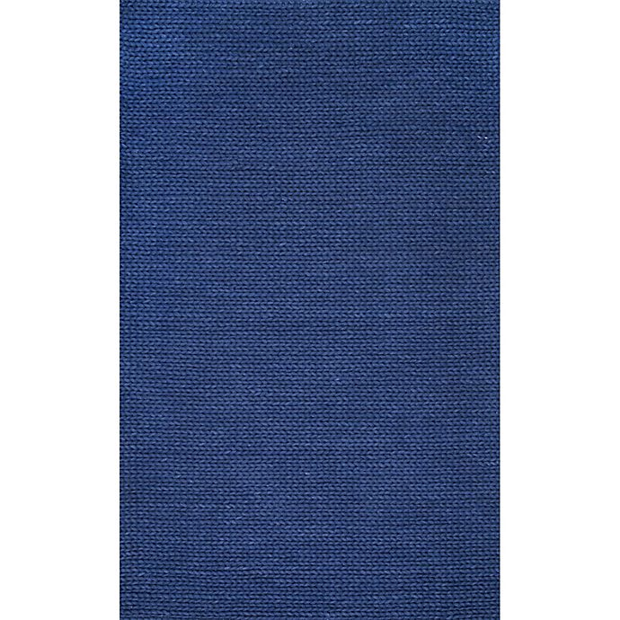 Alternate image 1 for nuLOOM Chunky Woolen Cable 8-Foot x 10-Foot Area Rug in Navy