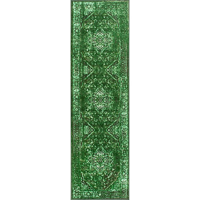 Alternate image 1 for nuLOOM Vintage Reiko 2-Foot 6-Inch x 8-Foot 6-Inch Runner in Green