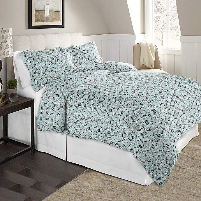 Alternate image 1 for Pointehaven 170 GSM Flannel Twin/Twin XL Duvet Cover Set in Brown/Teal