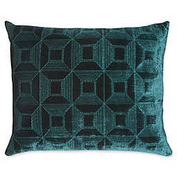 Mayfair Velvet Parquet Oblong Throw Pillow in Emerald