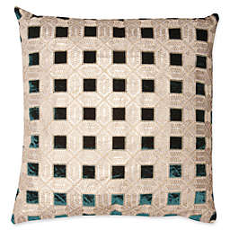 Mayfair Deco Square Throw Pillow in Gold/Green