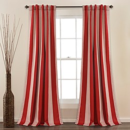 Julia Stripe 2-Pack Rod Pocket Room Darkening Window Curtain Panels