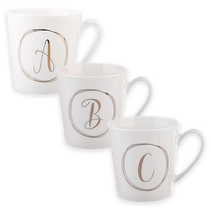 Alternate image 1 for Formations Monogram Mug in White/Gold