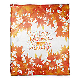 Designs Direct Autumn Leaves Throw Blanket in Orange