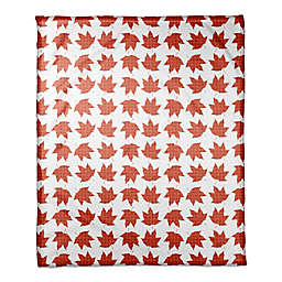 Designs Direct Maple Leaves Throw Blanket in Orange