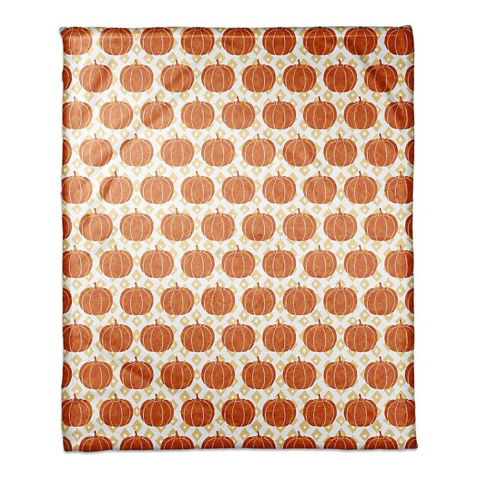 Alternate image 1 for Designs Direct Pumpkins Throw Blanket in Orange