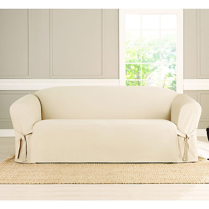 Alternate image 1 for Sure Fit® Heavyweight Box Seat Loveseat Cover