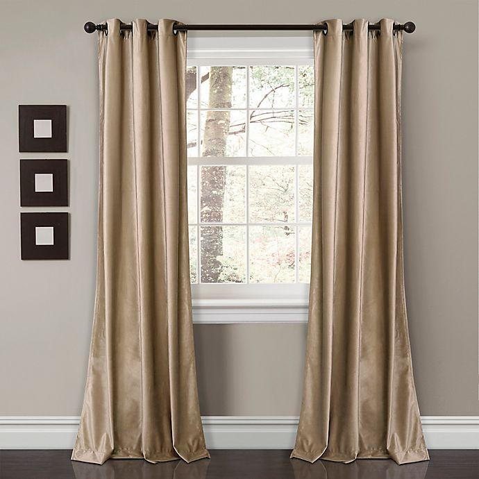 Alternate image 1 for Prima Velvet Solid Grommet Room Darkening Window Curtain Panels (Set of 2)