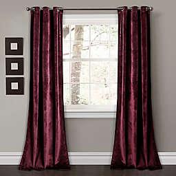 Prima Velvet 84-Inch Grommet Room Darkening Window Curtain Panels in Plum (Set of 2)
