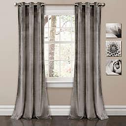 Prima Velvet 84-Inch Grommet Room Darkening Window Curtain Panels in Grey (Set of 2)