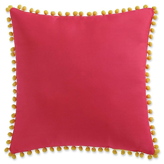Alternate image 1 for My World Pom Pom Throw Pillow in Pink