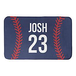Designs Direct 34-Inch x 21-Inch Baseball Stitching Bath Mat in Blue