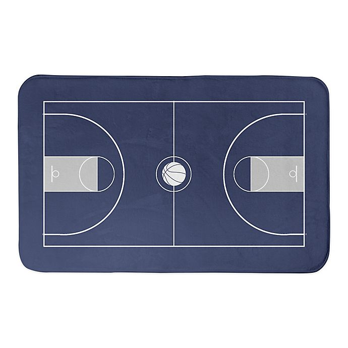 Alternate image 1 for Designs Direct 34-Inch x 21-Inch Basketball Court Bath Mat in Blue