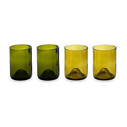 Oenophilia Greenophile™ Wine Bottle Tumblers in Green/Gold (Set of 4)