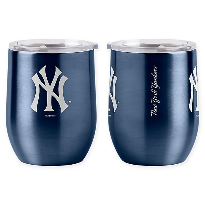 Alternate image 1 for MLB New York Yankees 16 oz. Stainless Steel Curved Ultra Tumbler Wine Glass