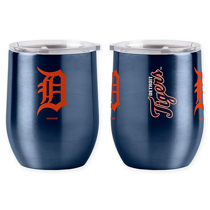Alternate image 1 for MLB Detroit Tigers 16 oz. Stainless Steel Curved Ultra Tumbler Wine Glass